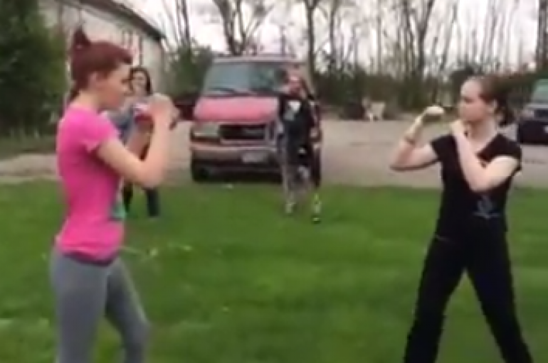Girl Hit In Head With Shovel During Fight (Long Version)